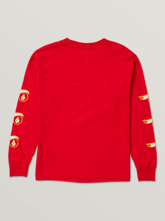 Little Boys Hot Wheels'Ñ¢ X Volcom Long Sleeve Tee In Red, Back View
