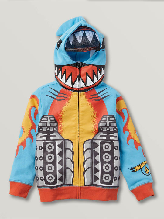Little Boys Hot Wheels'Ñ¢ Sharkruiser Zip Hoodie In Light Blue, Front View