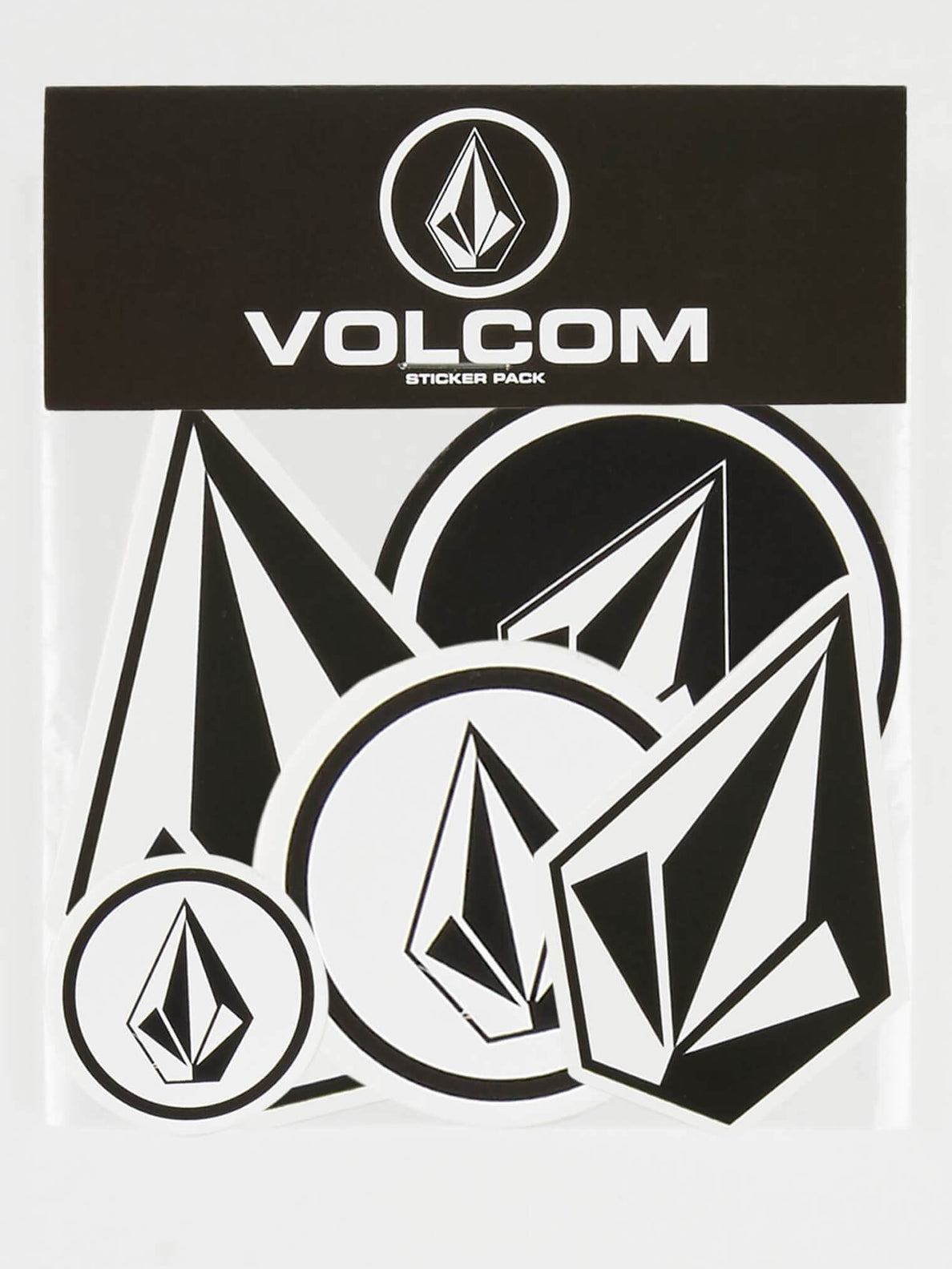 Volcom Sticker Pack In Black White, Front View