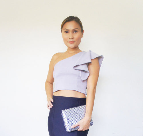 Allium One Shoulder Frill Top Grey