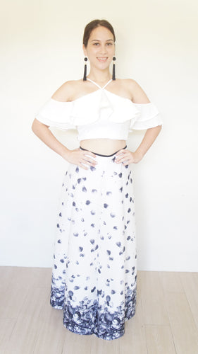 Prim Petals Neoprene Ball Skirt White