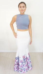 Poppy Mermaid Neoprene Skirt White Floral