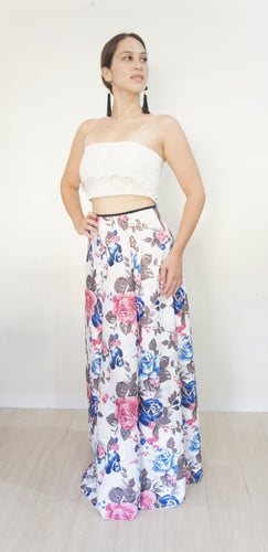 Nerine Neoprene Floral Ball Skirt White