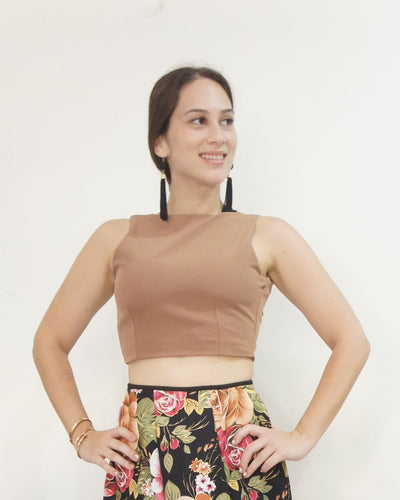 Amaryllis Tie-back Crop Top Tan