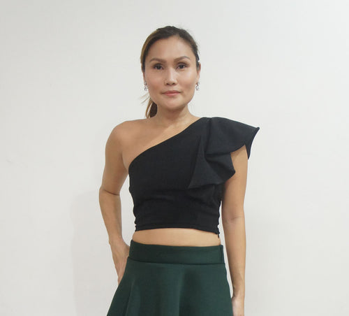 Allium One Shoulder Frill Top Black