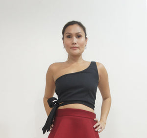 Alyssum One Shoulder Side-tie Crop Top Black