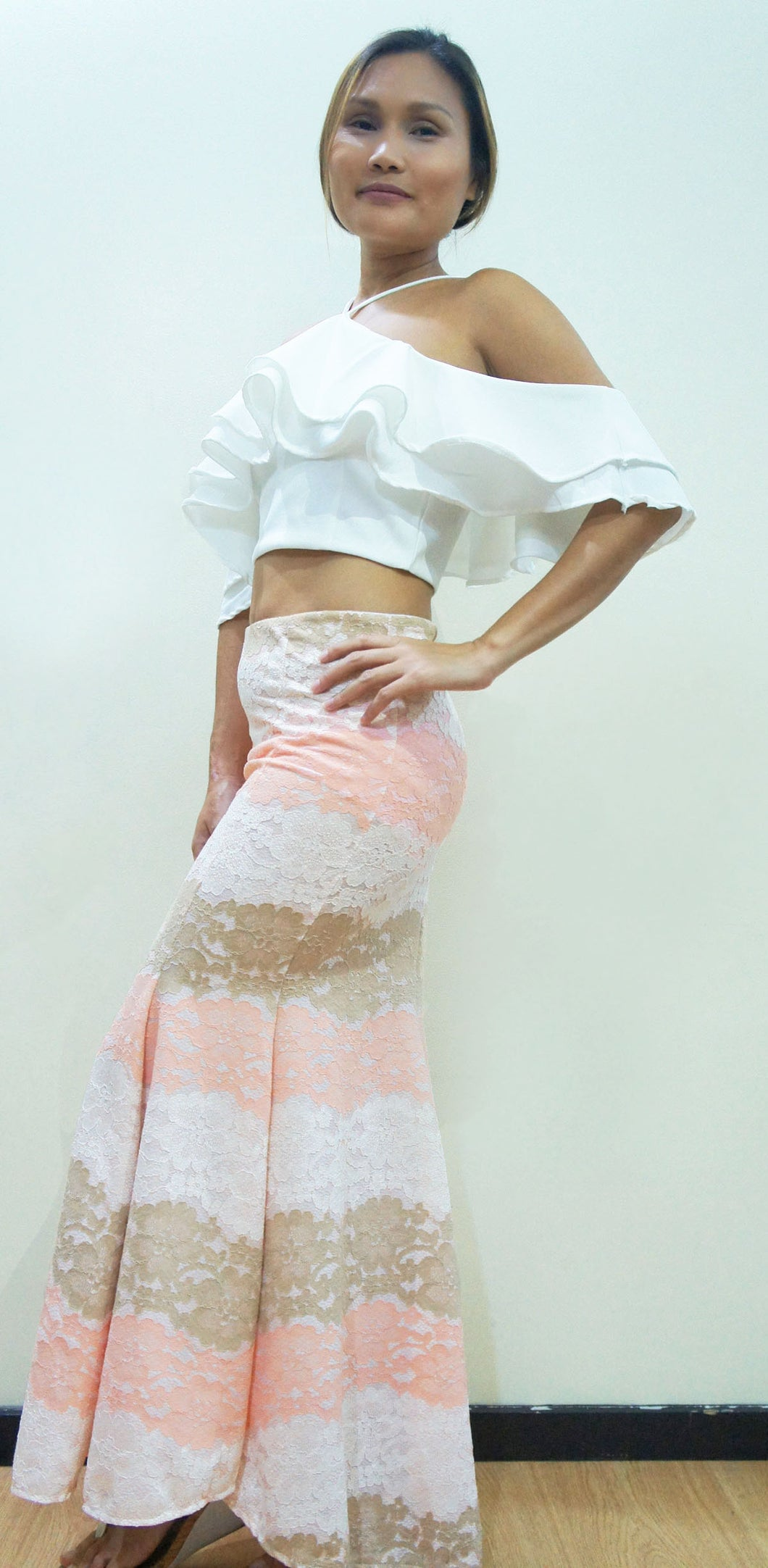Azalea Mermaid Lace Skirt Coral