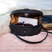 Balinese Rattan Crossbody Bag Black Star