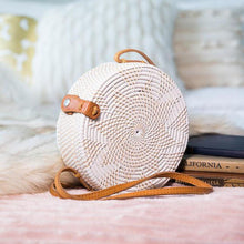 Balinese Rattan Crossbody Bag White Star