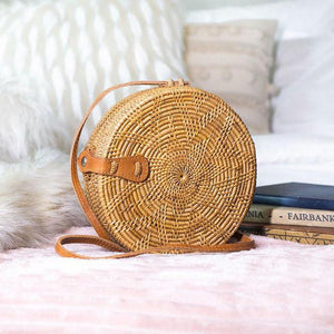 Balinese Rattan Crossbody Bag Natural Star