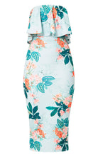 Pretty Little Thing Frill Bandeau Midi Dress Floral US Size 0