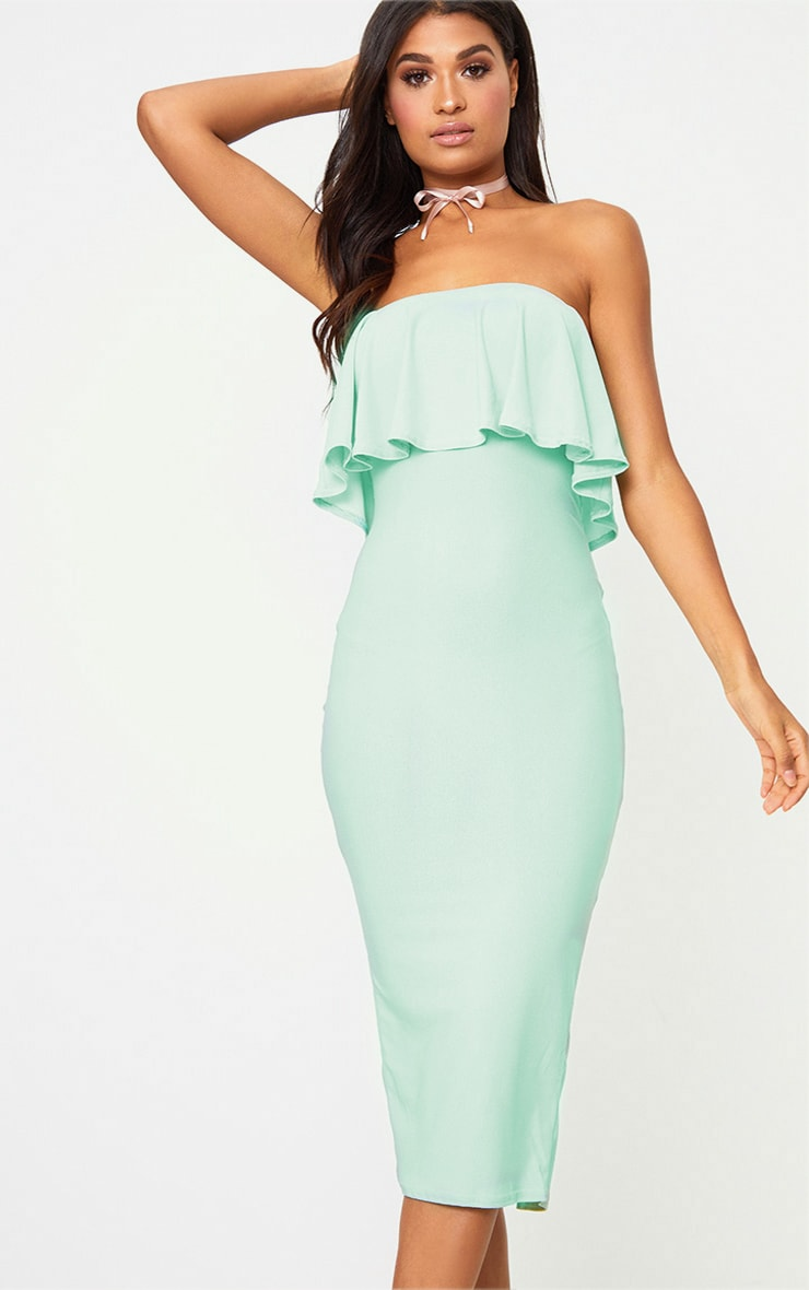 Pretty Little Thing Frill Bandeau Midi Dress Sage Green US Size 2