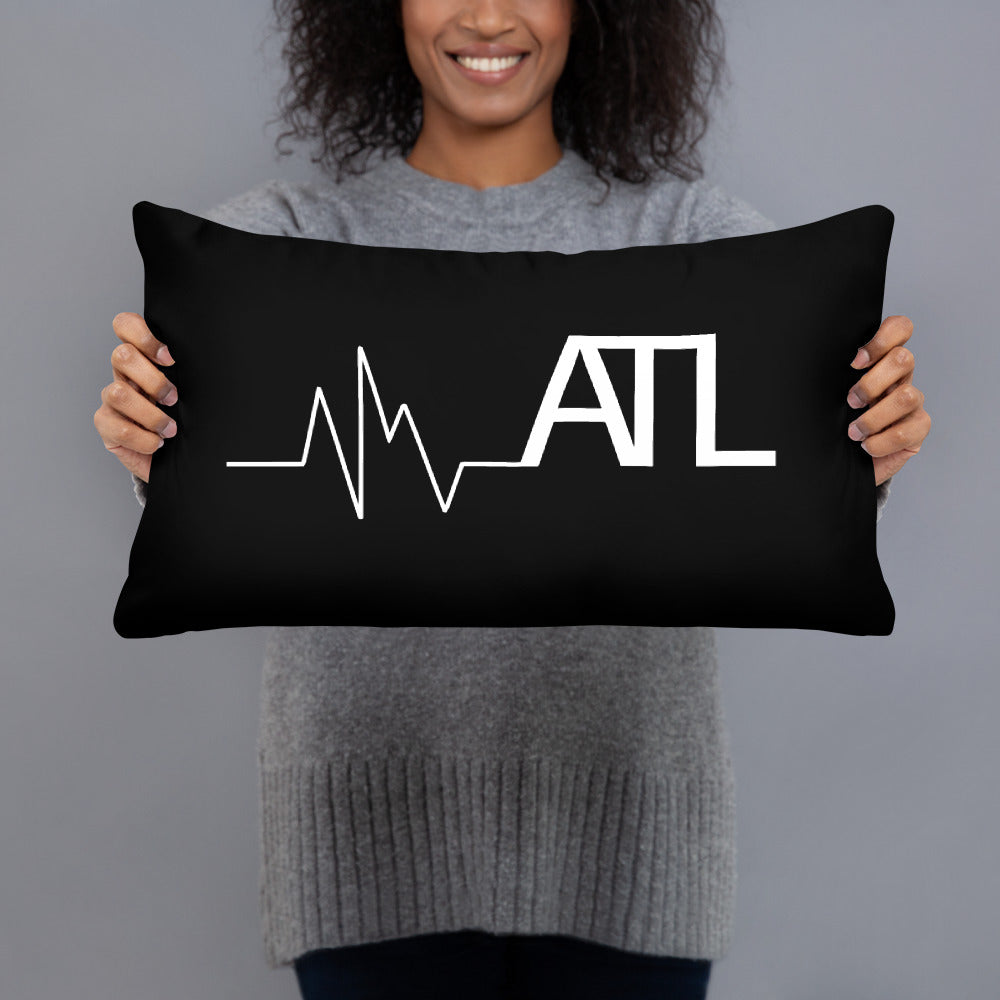 Heartbeat ATL Throw Pillow - Black