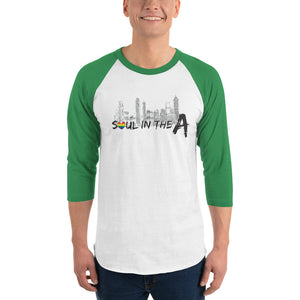 Pride Soul in the A - Unisex 3/4 sleeve raglan shirt - Pick a color (black, red, green)