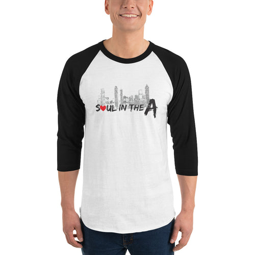 Soul in the A Unisex 3/4 sleeve raglan shirt - Pick a Color (black, red or green)