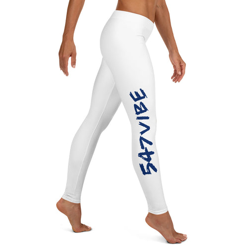 547 Vibe Leggings - White with Royal Blue Letters