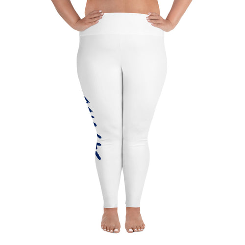 547 Vibe All-Over Print Plus Size Leggings - Royal Blue Letters