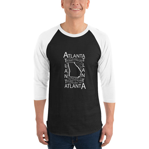 Atlanta, GA Unisex 3/4 sleeve raglan shirt - White and Black
