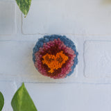 Mini Puff | Fiber Sculpture in Wood Frame - Orange, Pink and Blue