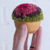 Mini Puff | Fiber Sculpture in Woof Frame - Red, Pink, Purple, and Green