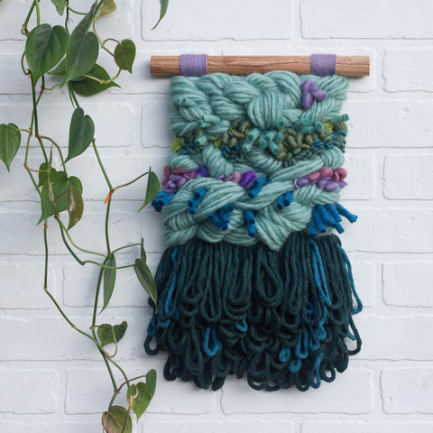 Textured Woven Wall Hanging | Seafoam + Green + Purple