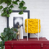 Handwoven Mustard Table Lamp in Modern Metal Frame