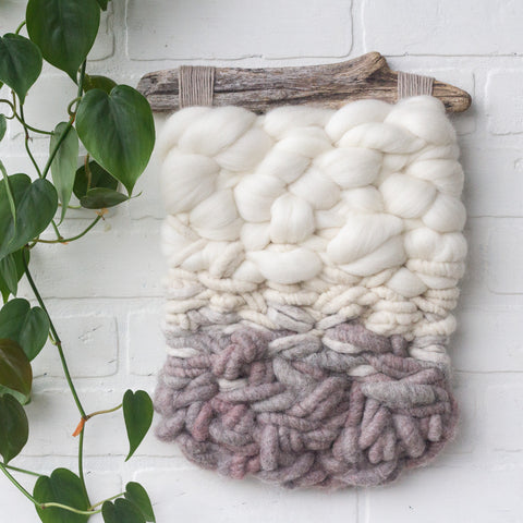 Neutral + Chunky Woven Wall Hanging on Driftwood