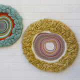 Circular Woven Wall Hanging in Pinks + Mustard