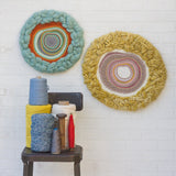 Round Woven Wall Hanging | Orange + Seafoam