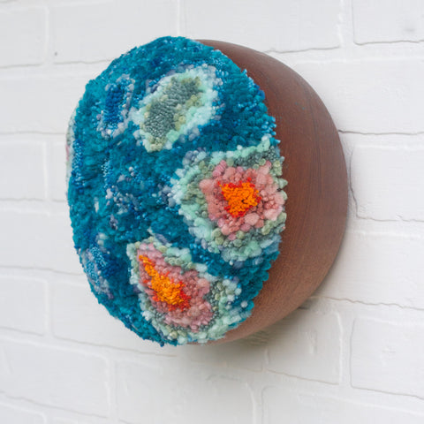 Mega Puff Fiber Sculpture | Deep Teal with Orange + Pink + Seafoam