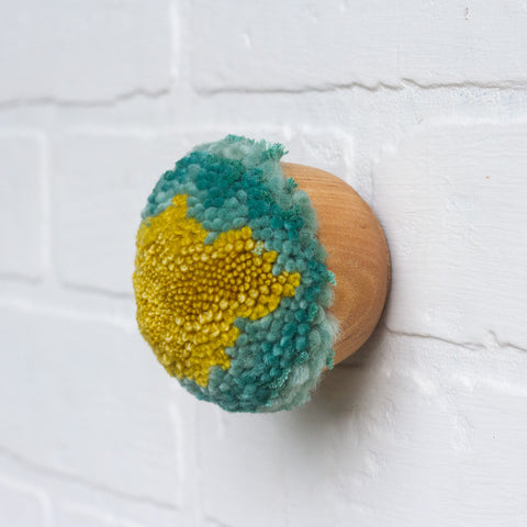 Mini Puff Fiber Sculpture | Turquoise + Chartreuse