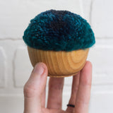 Mini Puff FIber Sculpture | Blue + Deep Teal