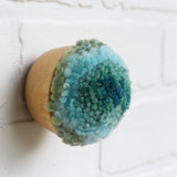 Mini Puff Fiber Sculpture | Aqua + Seafoam