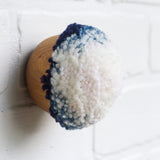 Mini Puff Fiber Sculpture | White + Blue