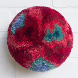Puff Fiber Sculpture | Red + Turquoise + Blue