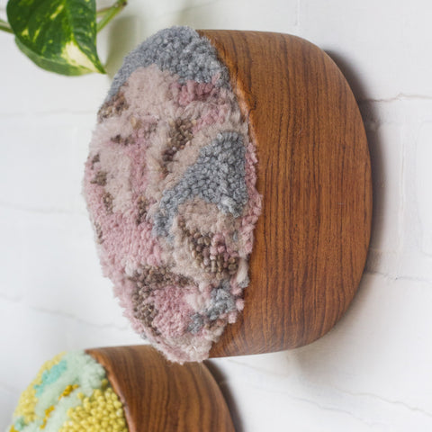 The Puff Collection | Round Teak Frame with Fiber Art in Mauve, Pink and Grey