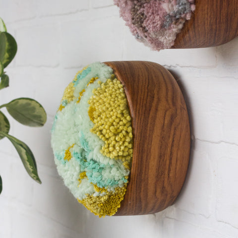 The Puff Collection | Round Teak Frame with Fiber Art in Chartreuse, Teal, Blue and Green