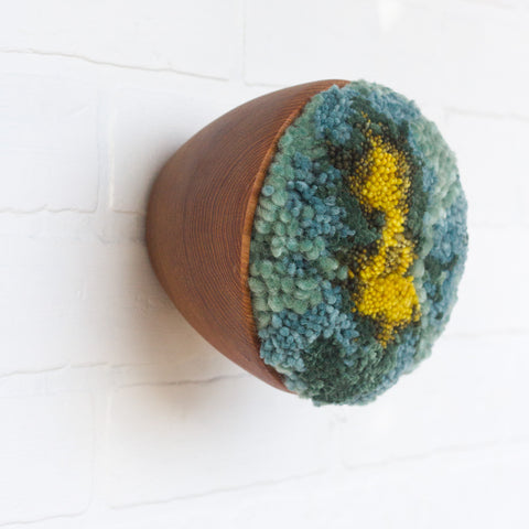Puff Collection | Dark Aqua, Green and Chartreuse Fiber Art in Vintage Teak Bowl