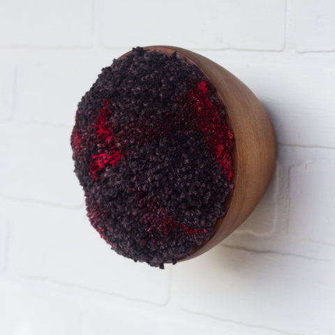 Puff Collection | Fluffy Dark Plum and Red in Vintage Teak Bowl