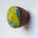 Puff Collection | Fluffy Lime Green and Teal Fibers in Vintage Teak Bowl