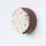 Puff Collection | White Felted Wool Fiber Art in Vintage Teak Bowl (1/2)