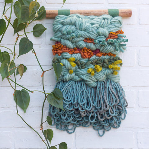 Textured Woven Wall Hanging | Seafoam + Green + Orange