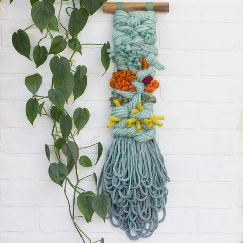 Long + Skinny Textured Weaving | Seafoam + Orange
