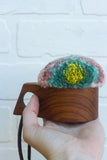 Sundae Collection | Vintage Teak Teacup Holder Puff | 01