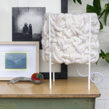 Handwoven All White Table Lamp in Modern Metal Frame