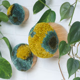 Puff Trio | Bamboo Bowls in 3 Sizes with Mustard + Green Puffs