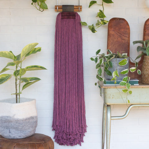 Extra Large Fringe Woven Wall Hanging in Berry Cotton Rope with Recycled Leather Detail