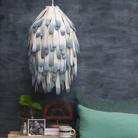 Wool Pendant Lamp with Ends Dipped in Shades of Blue