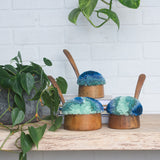 Puff Trio | Vintage Cherry Ladles with Blue Puff
