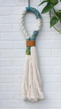 XL Chunky Rope Wrapped Wall Hanging with Recycled Leather